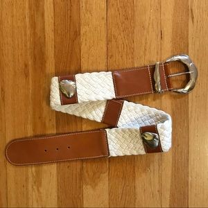 Vintage 80's Boho Wide White Woven & Leather Belt